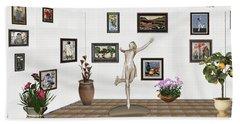 digital exhibition _ A sculpture of a dancing girl 12 Beach Towel