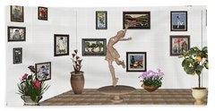 digital exhibition _ A sculpture of a dancing girl 14 Beach Towel
