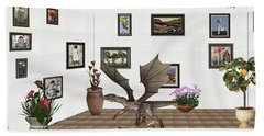 Beach Sheet featuring the mixed media digital exhibition _ Dragon and snake by Pemaro