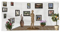 digital exhibition _ Statue of a Statue 22 of posing lady  Beach Towel by Pemaro