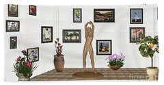 digital exhibition _ Statue of a Statue 23 of posing lady  Beach Towel by Pemaro