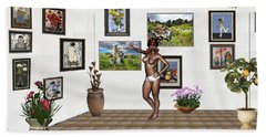 Beach Towel featuring the mixed media digital exhibition 32 _ posing  Girl 32  by Pemaro