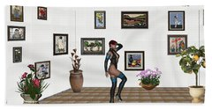 Beach Sheet featuring the mixed media digital exhibition 32  posing  Girl  by Pemaro