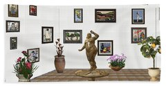 Beach Towel featuring the mixed media digital exhibition  Statue 25 of posing lady  by Pemaro