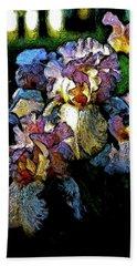 Digital Expressionist Painting Pale Pink Irises 6702 W_4 Beach Sheet
