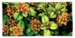 Digital Painting Quilted Garden Flowers 2563 Dp_2 Beach Towel