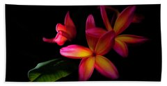 Digitized Sunset Plumerias  Beach Towel