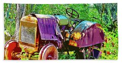 Dilapidated Tractor Beach Towel