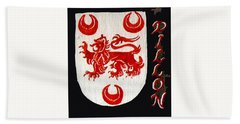 Beach Towel featuring the painting Dillon Family Shield by Barbara McDevitt