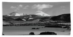 Beach Towel featuring the photograph Dillon In Winter Bw by Marie Leslie