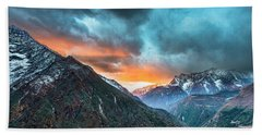 Dingboche Sunrise Beach Towel