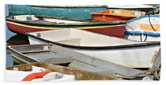 Dinghys At Bearskin Neck Beach Towel