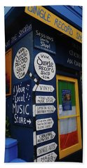 Beach Towel featuring the photograph Dingle Record Shop by Melinda Saminski