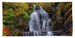 Dingmans Falls In Autumn 2 Beach Sheet by Raymond Salani III