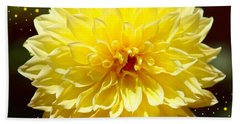 Dinner Plate Dahlia In Starry Sky Beach Towel