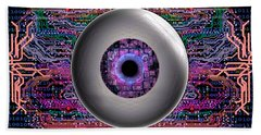 Beach Towel featuring the digital art Direct Link by Iowan Stone-Flowers