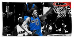 Beach Towel featuring the mixed media Dirk Nowitzki 3h by Brian Reaves