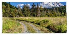 Dirt Road To Mt Rainier Beach Towel