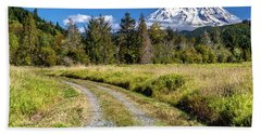 Beach Towel featuring the photograph Dirt Road To Mt Rainier by Rob Green