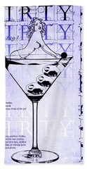 Dirty Dirty Martini Patent Blueprint Beach Towel by Jon Neidert