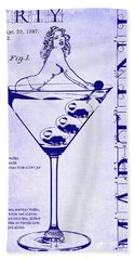 Dirty Martini Patent Blueprint Beach Towel by Jon Neidert
