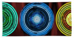 Circularity On Red Drape Beach Towel
