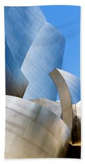 Beach Towel featuring the photograph Disney Hall In Blue And Silver by Lorraine Devon Wilke
