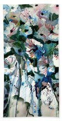 Beach Towel featuring the painting Disney Petunias by Mindy Newman