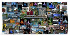 Disney World Collage Rectangle Pm Beach Towel