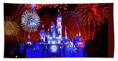 Disneyland 60th Anniversary Fireworks Beach Towel by Mark Andrew Thomas