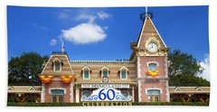 Beach Towel featuring the photograph Disneyland Entrance by Mark Andrew Thomas