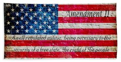 Distressed American Flag And Second Amendment On White Bricks Wall Beach Towel