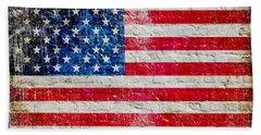 Distressed American Flag On Old Brick Wall - Horizontal Beach Towel
