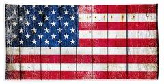 Distressed American Flag On Wood Planks - Horizontal Beach Towel
