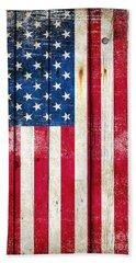 Distressed American Flag On Wood - Vertical Beach Towel
