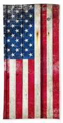 Distressed American Flag On Wood - Vertical Beach Sheet