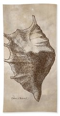 Beach Sheet featuring the drawing Distressed Antique Nautical Seashell 1  by Karen Whitworth