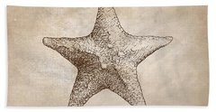 Beach Sheet featuring the drawing Distressed Antique Nautical Starfish by Karen Whitworth