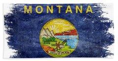 Distressed Montana Flag Beach Towel