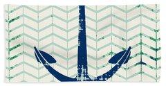 Distressed Navy Anchor V2 Beach Towel