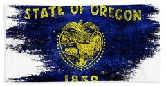 Distressed Oregon Flag Beach Sheet by Jon Neidert
