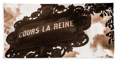 Distressed Parisian Street Sign Beach Towel