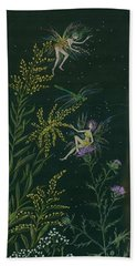 Beach Towel featuring the drawing Ditchweed Fairies Goldenrod And Thistle by Dawn Fairies