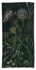 Beach Towel featuring the drawing Ditchweed Fairy Grasses by Dawn Fairies
