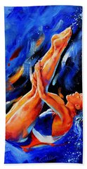 Beach Towel featuring the painting Diving Diva by Hanne Lore Koehler