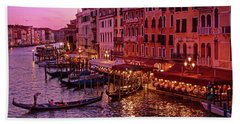 A Cityscape With Vintage Buildings And Gondola - From The Rialto In Venice, Italy Beach Sheet