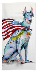 Beach Towel featuring the painting Doberman Napolean by Patricia Lintner