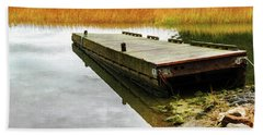 Dock And Marsh Beach Sheet by Tom Singleton