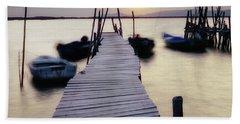 Dock At Sunset Beach Towel