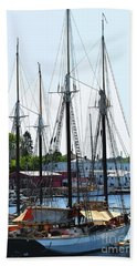 Docked Masts Beach Sheet by Kirt Tisdale